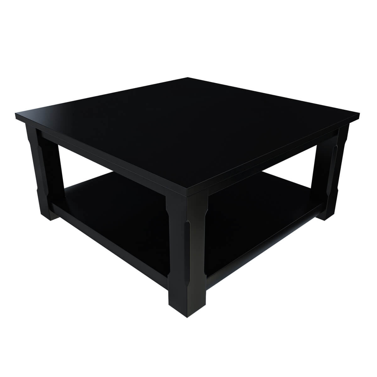 Rustic Solid Wood Black 2 Tier Square Shaker Coffee Table