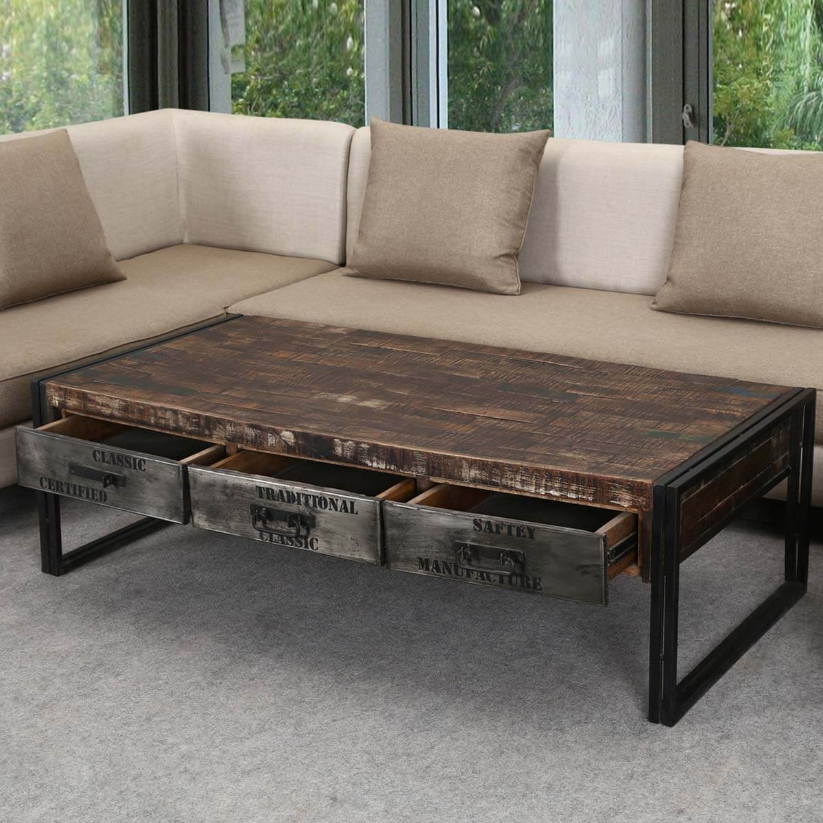 "Industrial Midnight Mango Wood & Iron 60"" Coffee Table W"