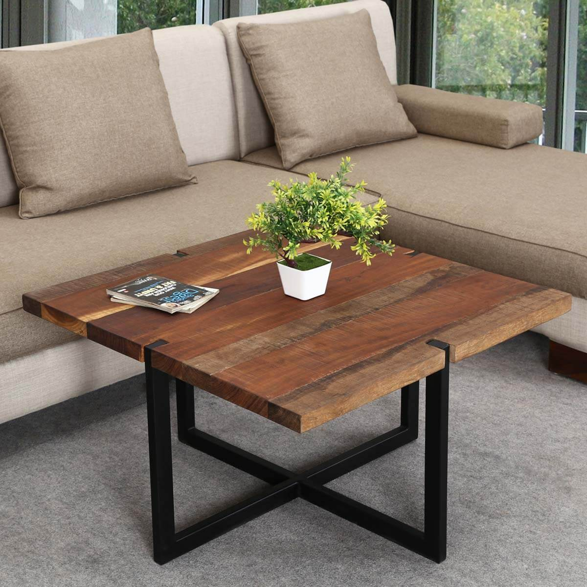 Reclaimed Wood Industrial Coffee Table: Suffolk Simplicity Reclaimed Wood Square Industrial Coffee