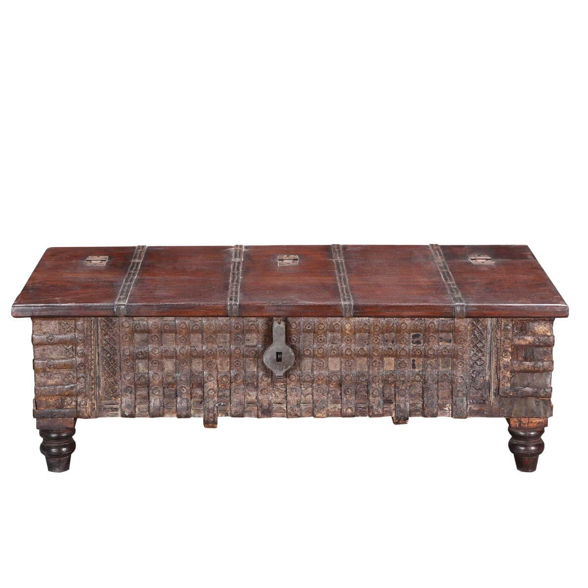Tudor Rustic Reclaimed Wood 52 Standing Coffee Table Chest