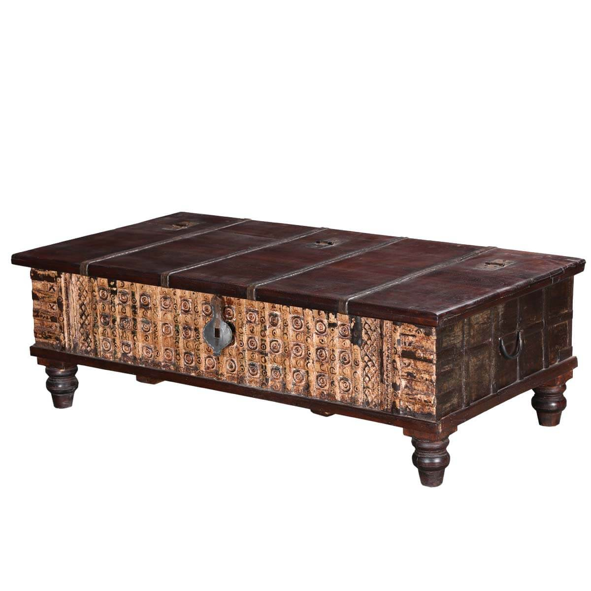 Rustic heritage reclaimed wood standing coffee table chest for Reclaimed coffee table