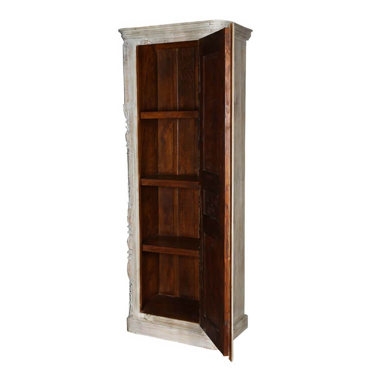 Unfinished Wood Armoire ~ Sirmons whitewashed solid wood single door rustic armoire