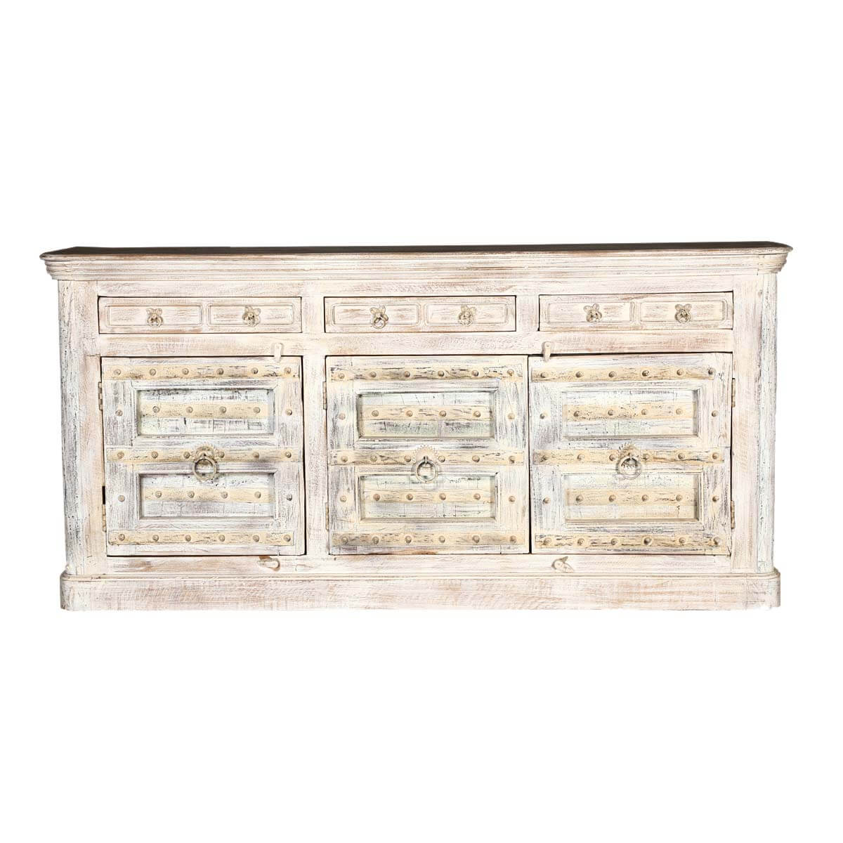 Palazzo 82 Light Brown Rustic Solid Wood 3 Door Buffet Sideboard. Full resolution  picture, nominally Width 1200 Height 1200 pixels, picture with #967135.