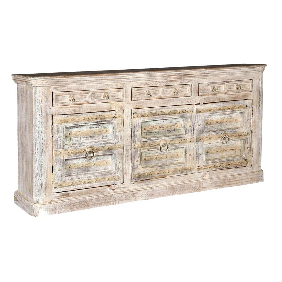 Palazzo 82 Light Brown Rustic Solid Wood 3 Door Buffet Sideboard. Full resolution  picture, nominally Width 1200 Height 1200 pixels, picture with #8E703D.