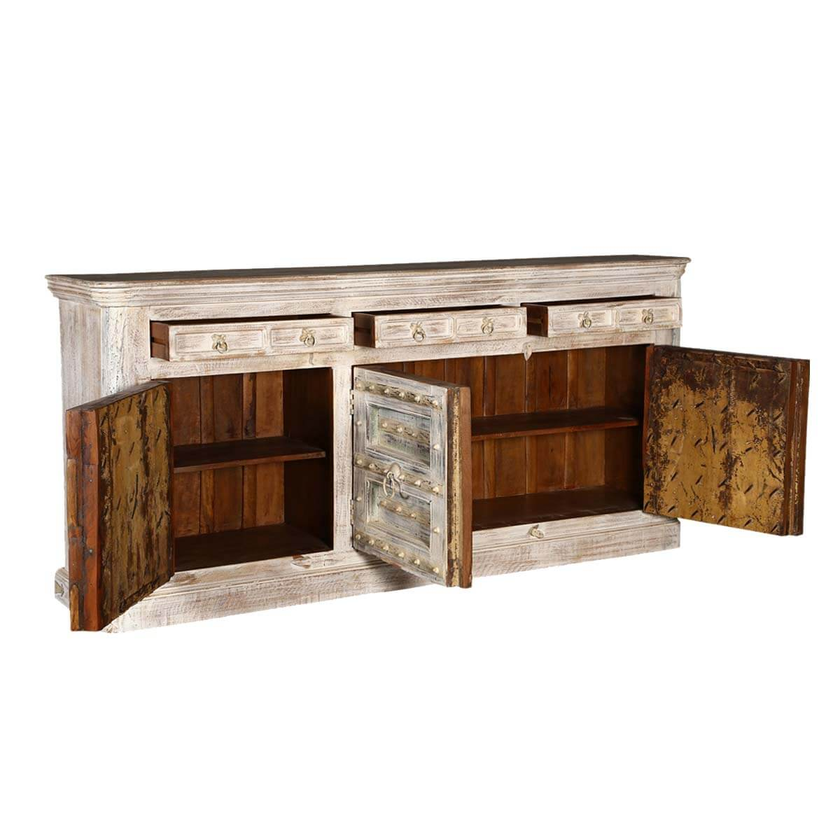 Palazzo 82 Light Brown Rustic Solid Wood 3 Door Buffet Sideboard. Full resolution  picture, nominally Width 1200 Height 1200 pixels, picture with #381E0E.