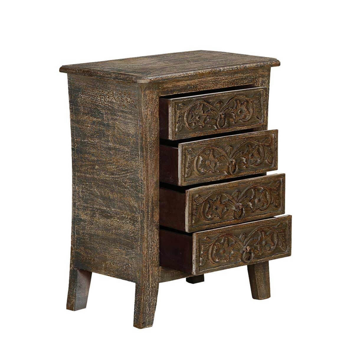 palazzo handcrafted rustic solid wood 4 drawer nightstand. Black Bedroom Furniture Sets. Home Design Ideas