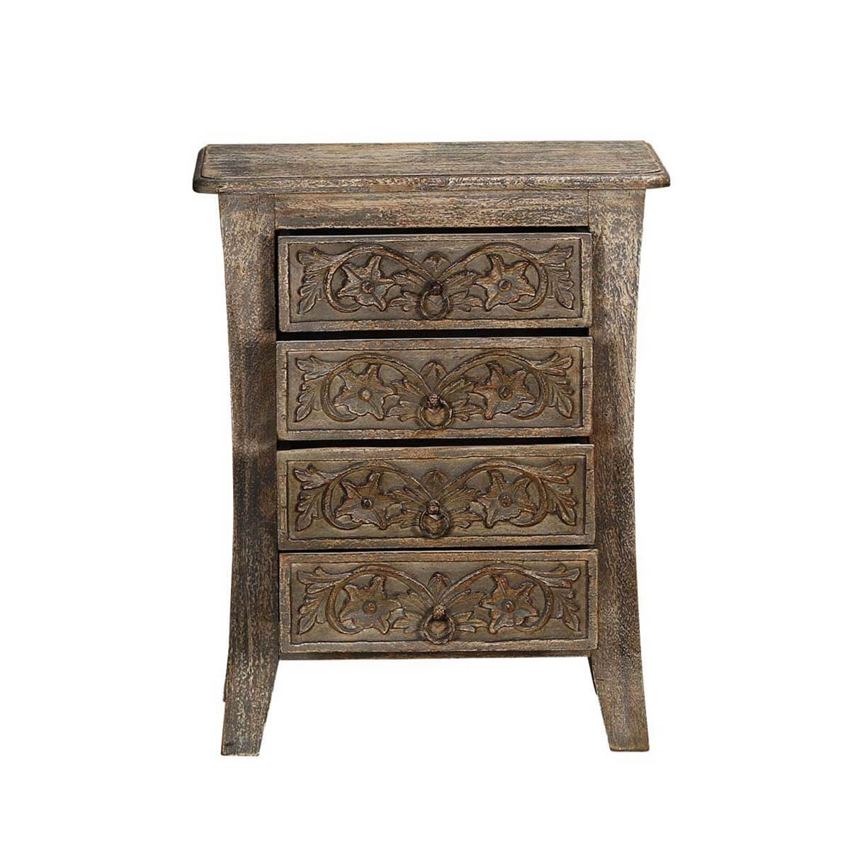 Palazzo handcrafted rustic solid wood 4 drawer nightstand for Rustic nightstands