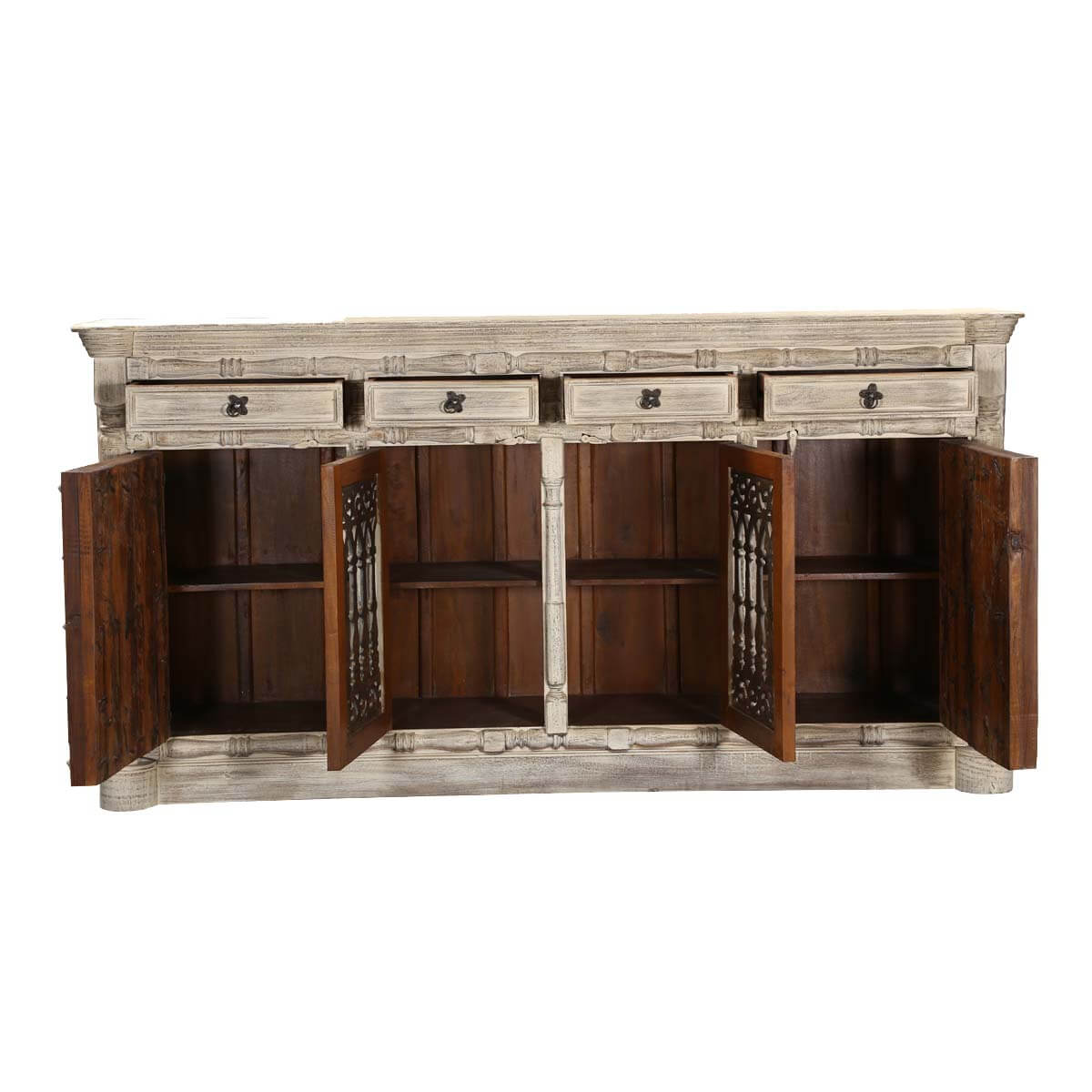 """Palazzo 88"""" Rustic Light Brown 4 Door Solid Wood Buffet Sideboard. Full resolution  picture, nominally Width 1200 Height 1200 pixels, picture with #AB8020."""