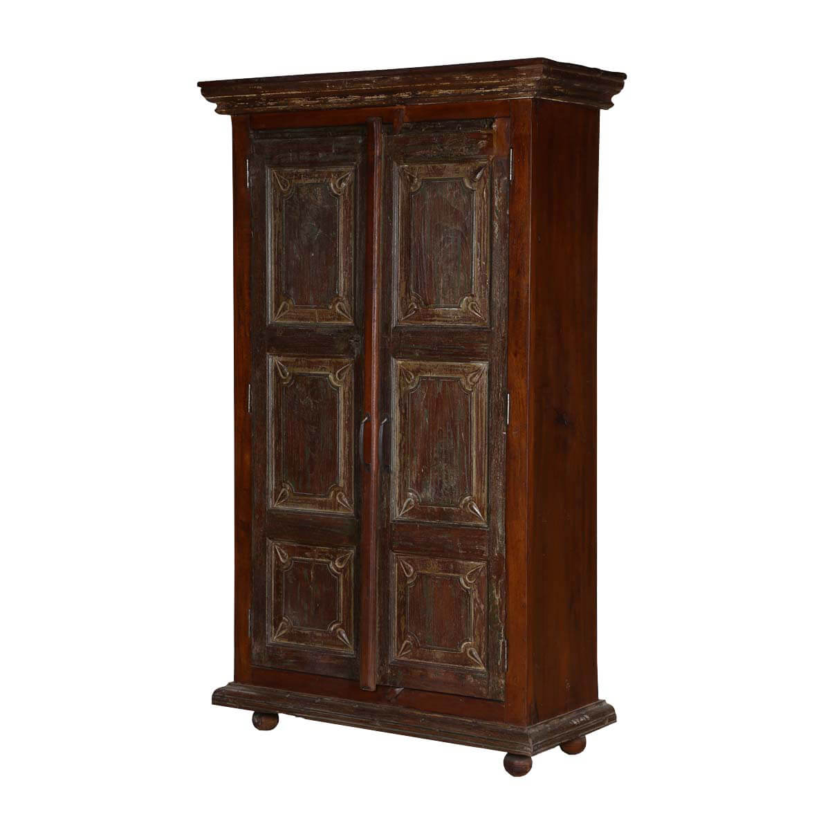 palazzo dark solid wood 2 door rustic tall storage cabinet. Black Bedroom Furniture Sets. Home Design Ideas
