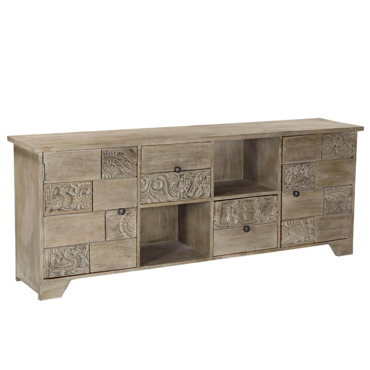 Reclaimed wood media console palazzo furniture with door