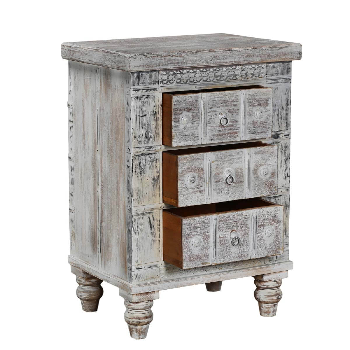 Palazzo 23 5 light grey solid wood rustic 3 drawer for Rustic wood nightstand