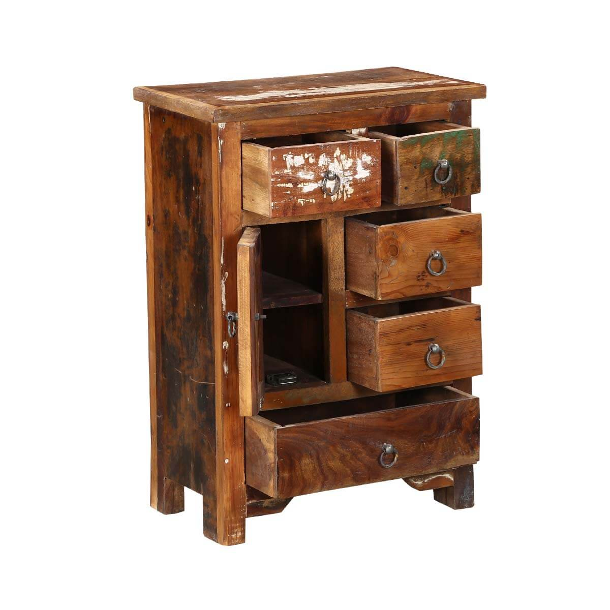 Ebers 20 Quot Solid Wood 5 Drawer Apothecary Storage Nightstand