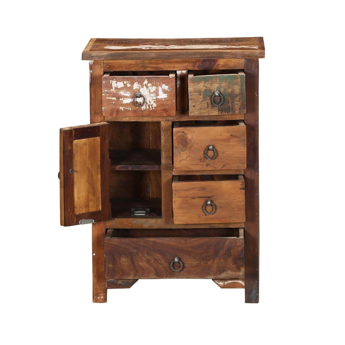 Ebers solid wood 5 drawer apothecary storage nightstand for Wood nightstand with drawers