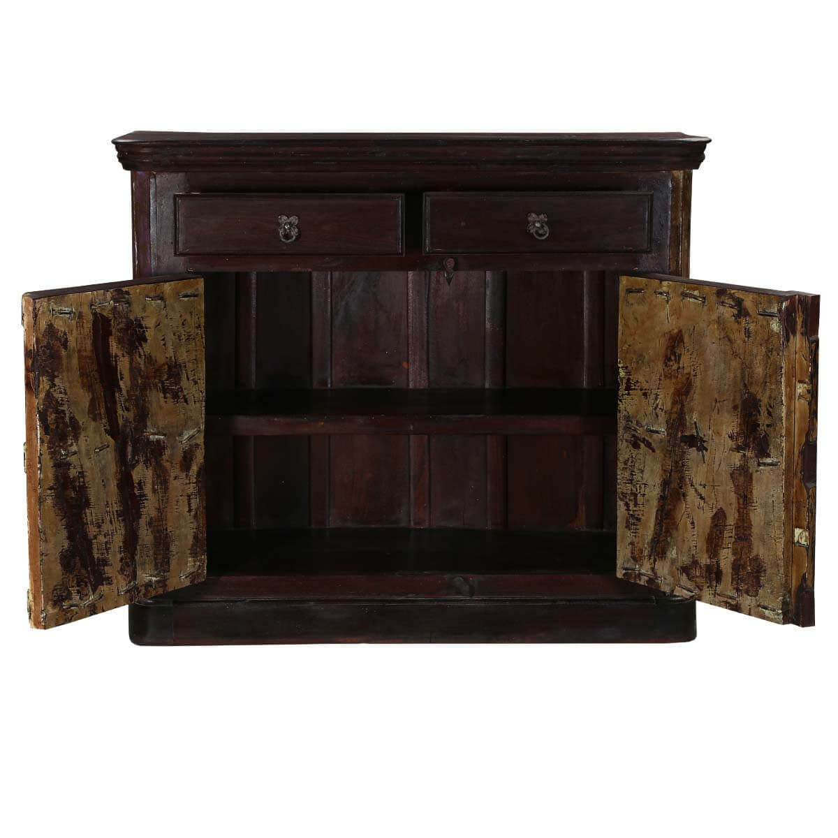 wood buffet kente 52 dark brown solid wood rustic 2 drawer sideboard