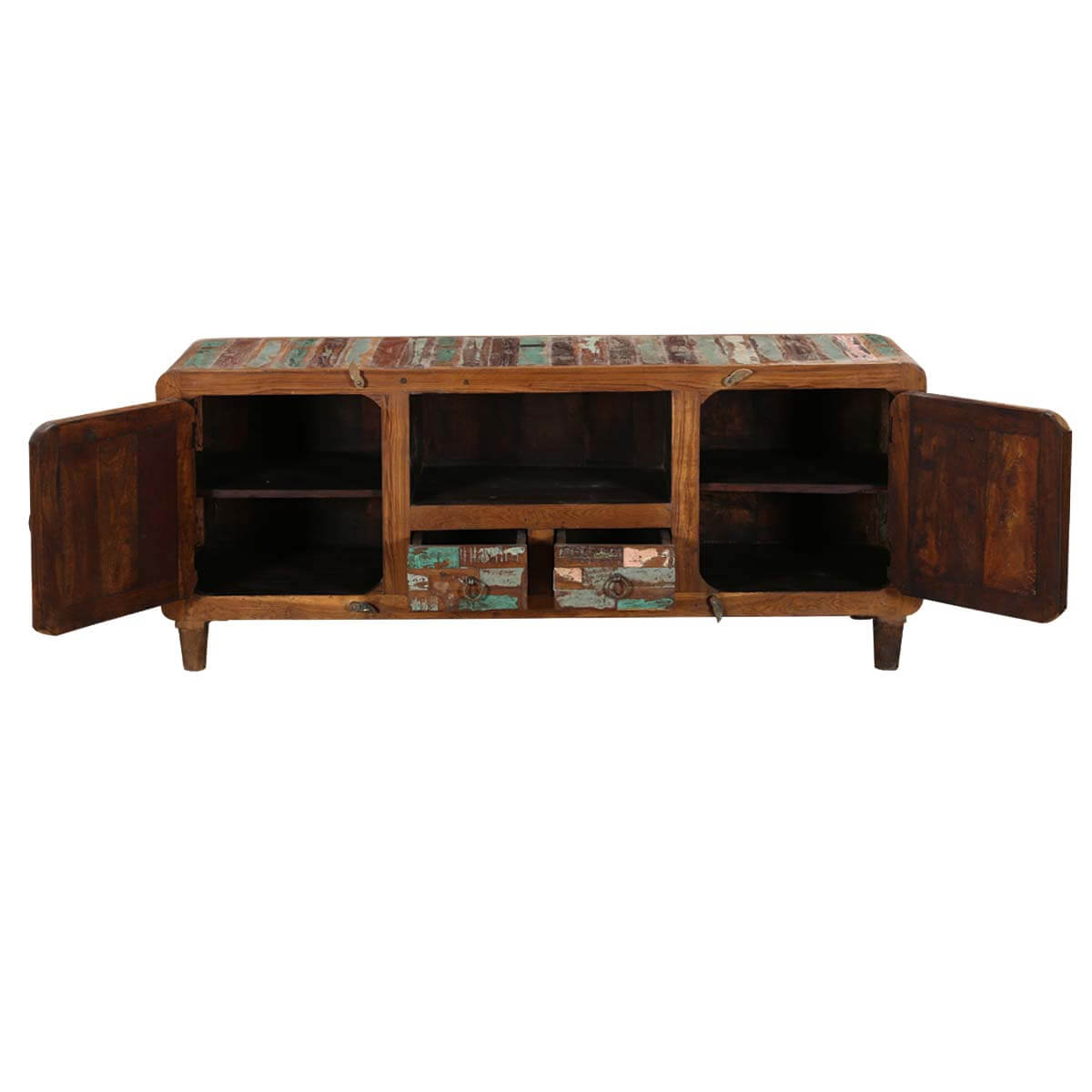 Wood Media Console Furniture ~ Tangier quot mosaic door solid wood rustic media console