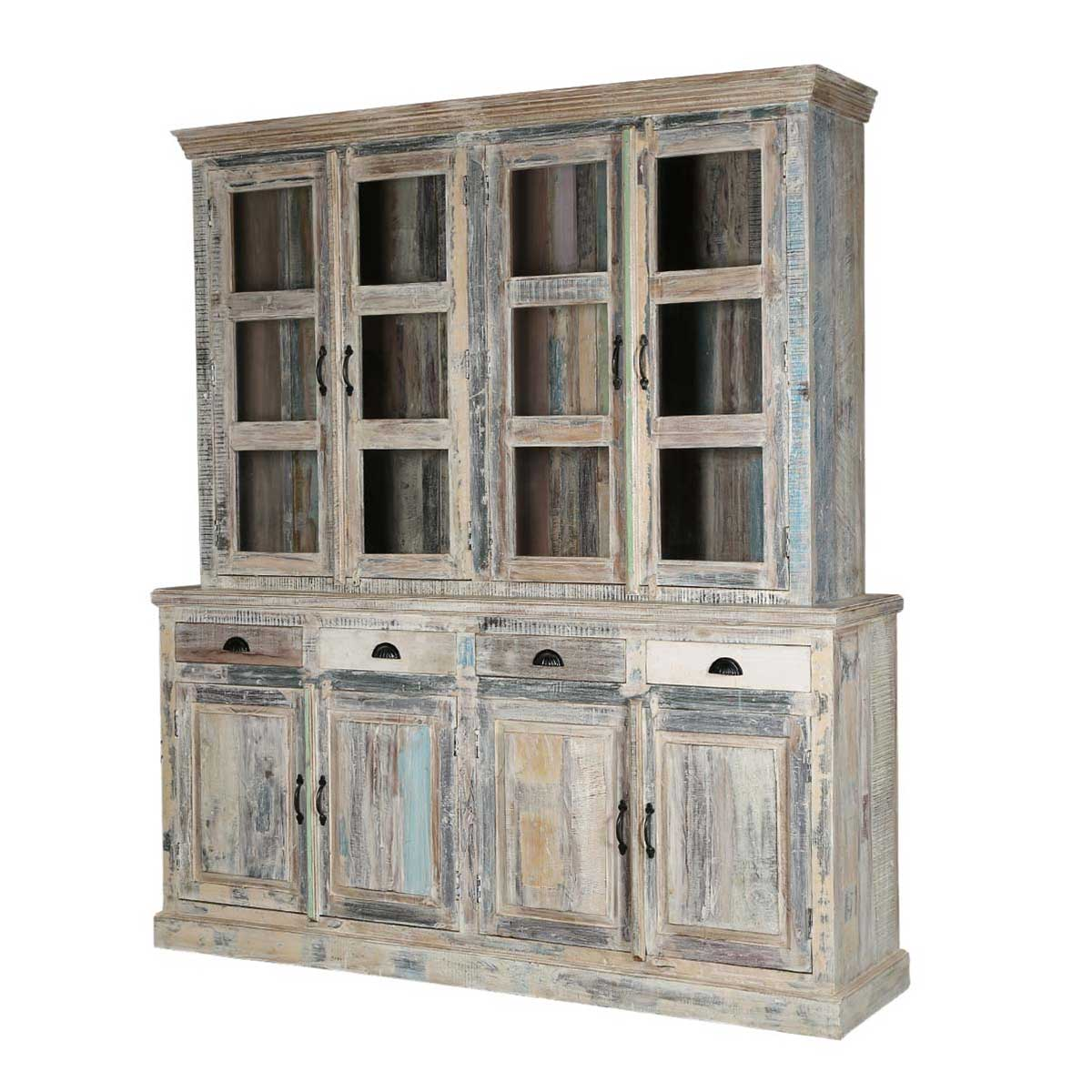 Country Kitchen Hutches: Country Kitchen Winter White Reclaimed Wood Breakfront