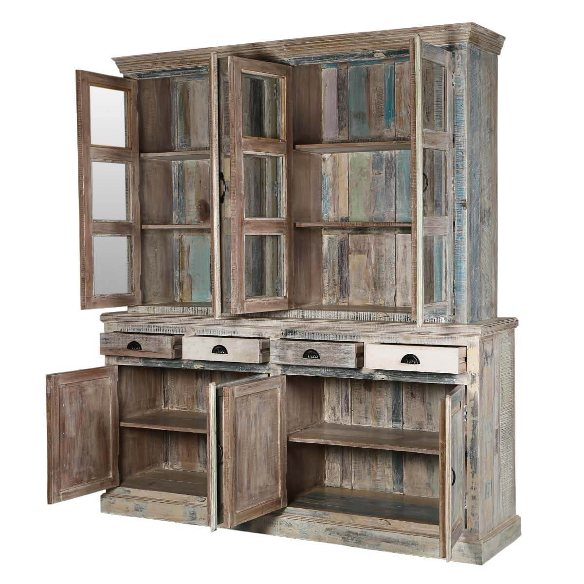 country kitchen winter white reclaimed wood breakfront