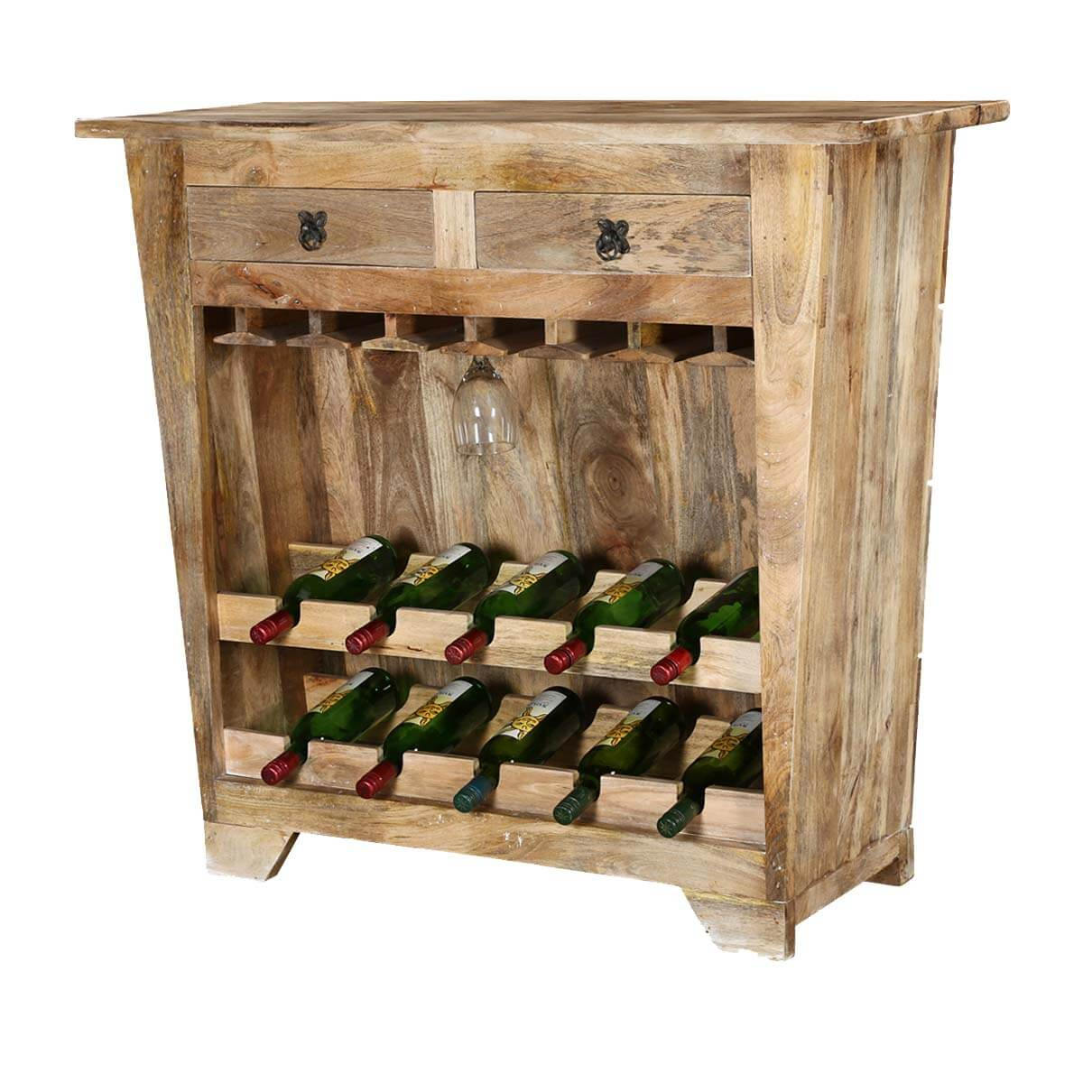 Modern Farmhouse Rustic Mango Wood Wine Rack Console Cabinet