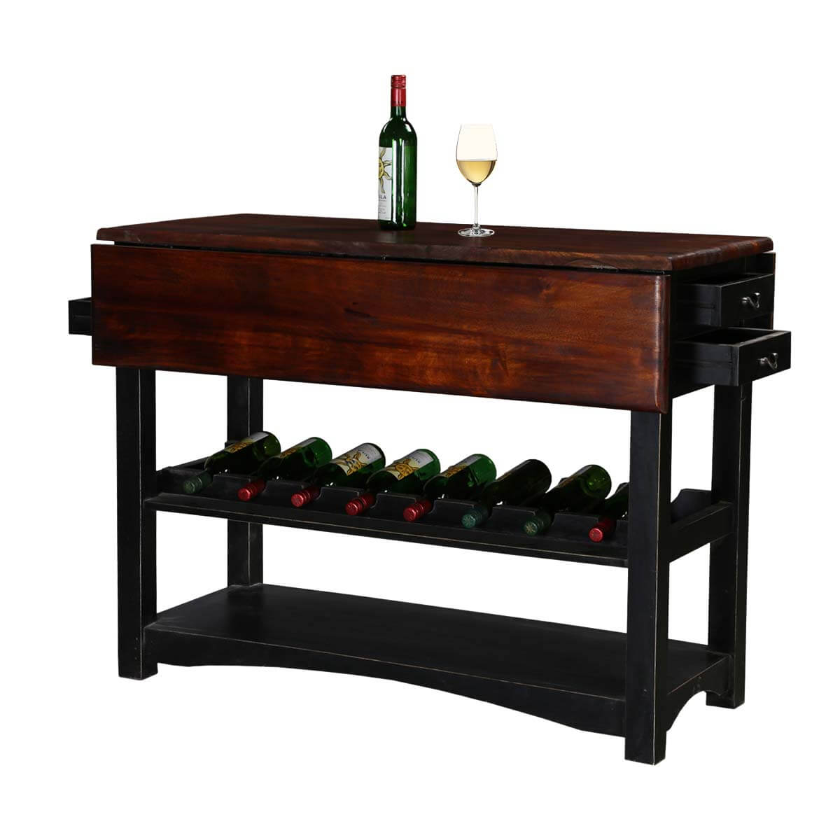 Ohio Modern Handcrafted Mango Wood Wine Rack Table W
