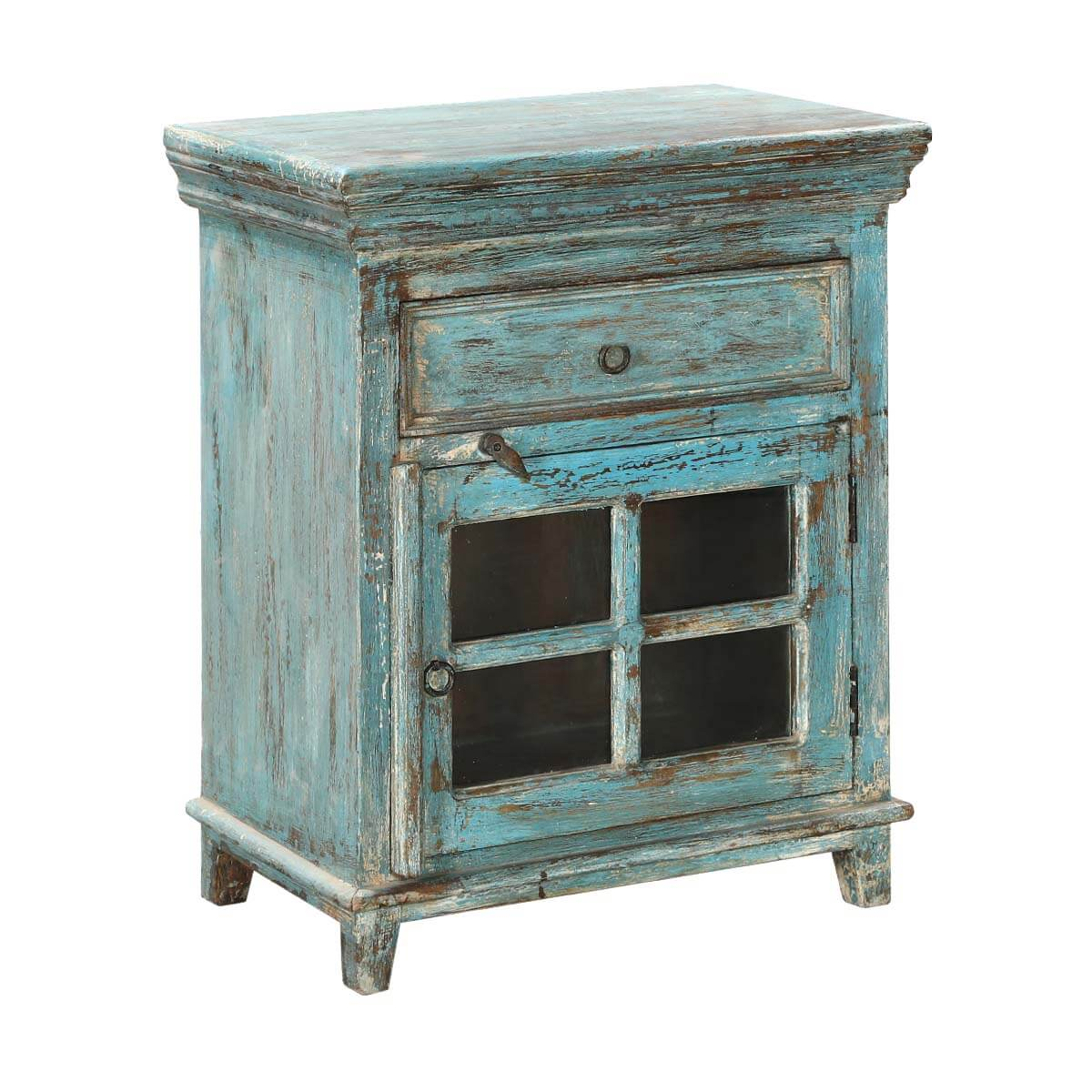 Turquoise trail 24 window pane door rustic 1 drawer for A p furniture trail