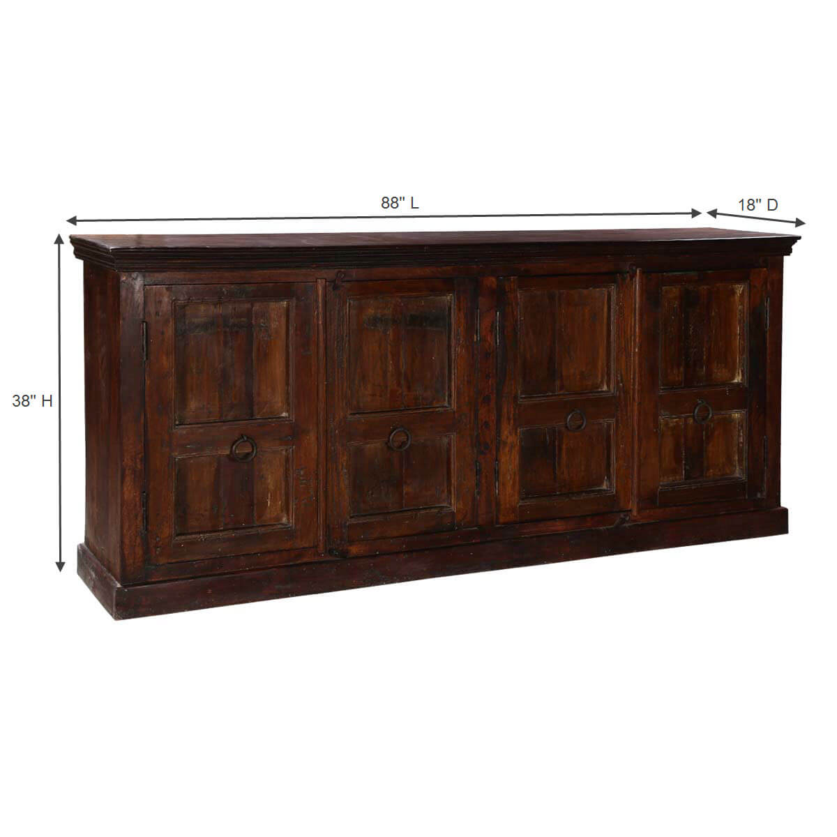 willamette 88 4 door rustic dark wood 4 shelf buffet sideboard