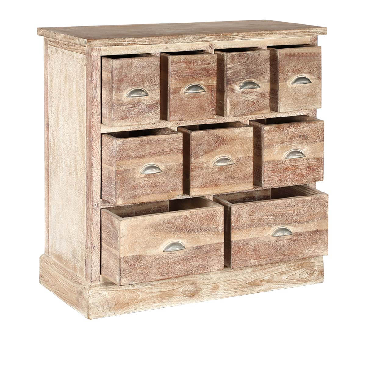 Rustic Pioneer Blonde Mango Wood Accent Chest Of 9 Drawers