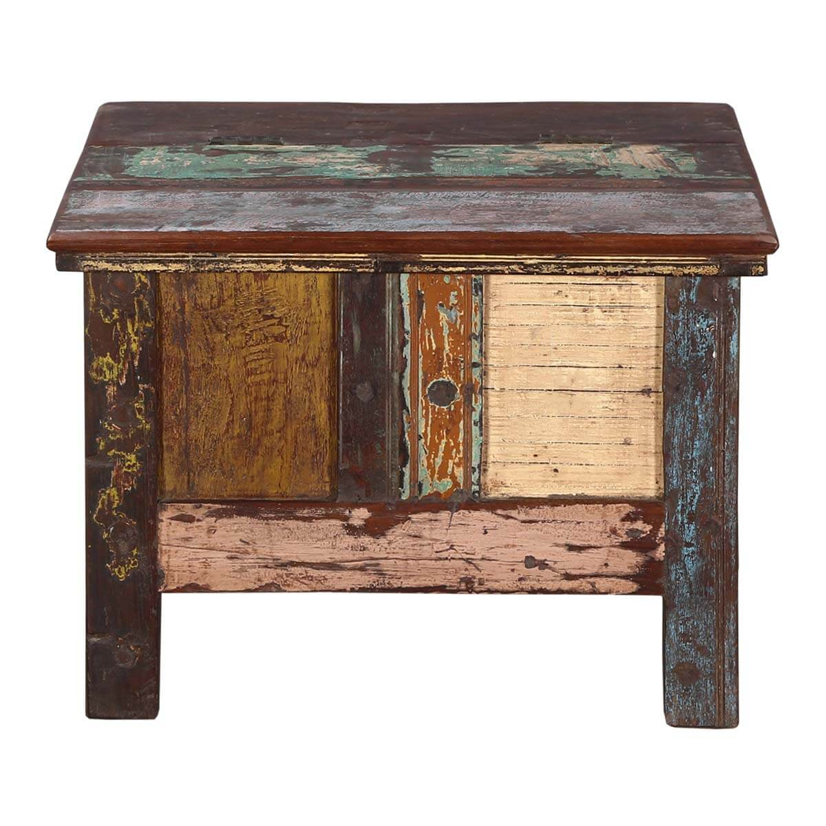 Rustic All Wood Coffee Table: Rustic Patches Reclaimed Wood Standing Coffee Table Chest