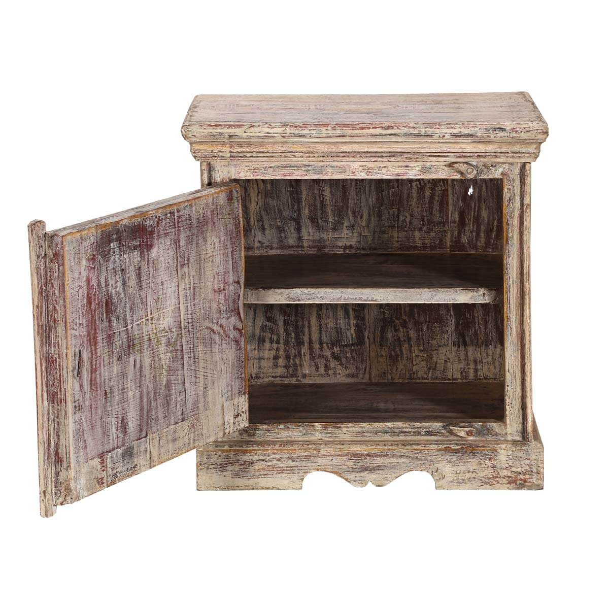 Winter White 9-Square Mango Wood Nightstand End Table Cabinet