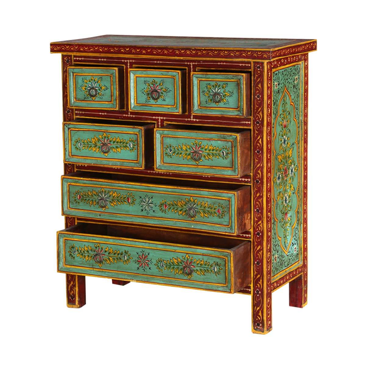 Green garden hand painted mango wood accent standard for Hand painted chests