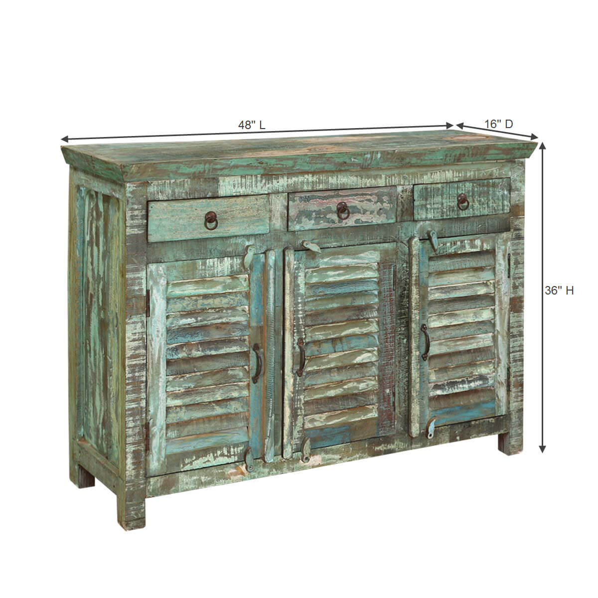 Wood Buffet Turquoise Trail Light Green Slat Design 3 Door Buffet. Full resolution  picture, nominally Width 1200 Height 1200 pixels, picture with #AA8721.
