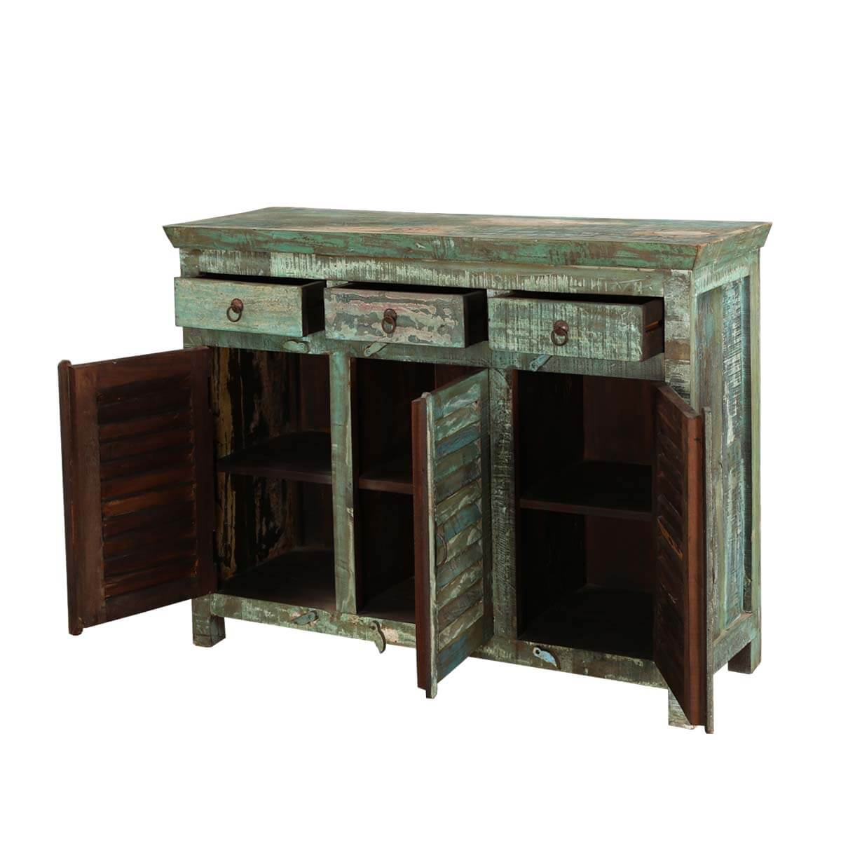 Wood Buffet Turquoise Trail Light Green Slat Design 3 Door Buffet. Full resolution  picture, nominally Width 1200 Height 1200 pixels, picture with #B48317.