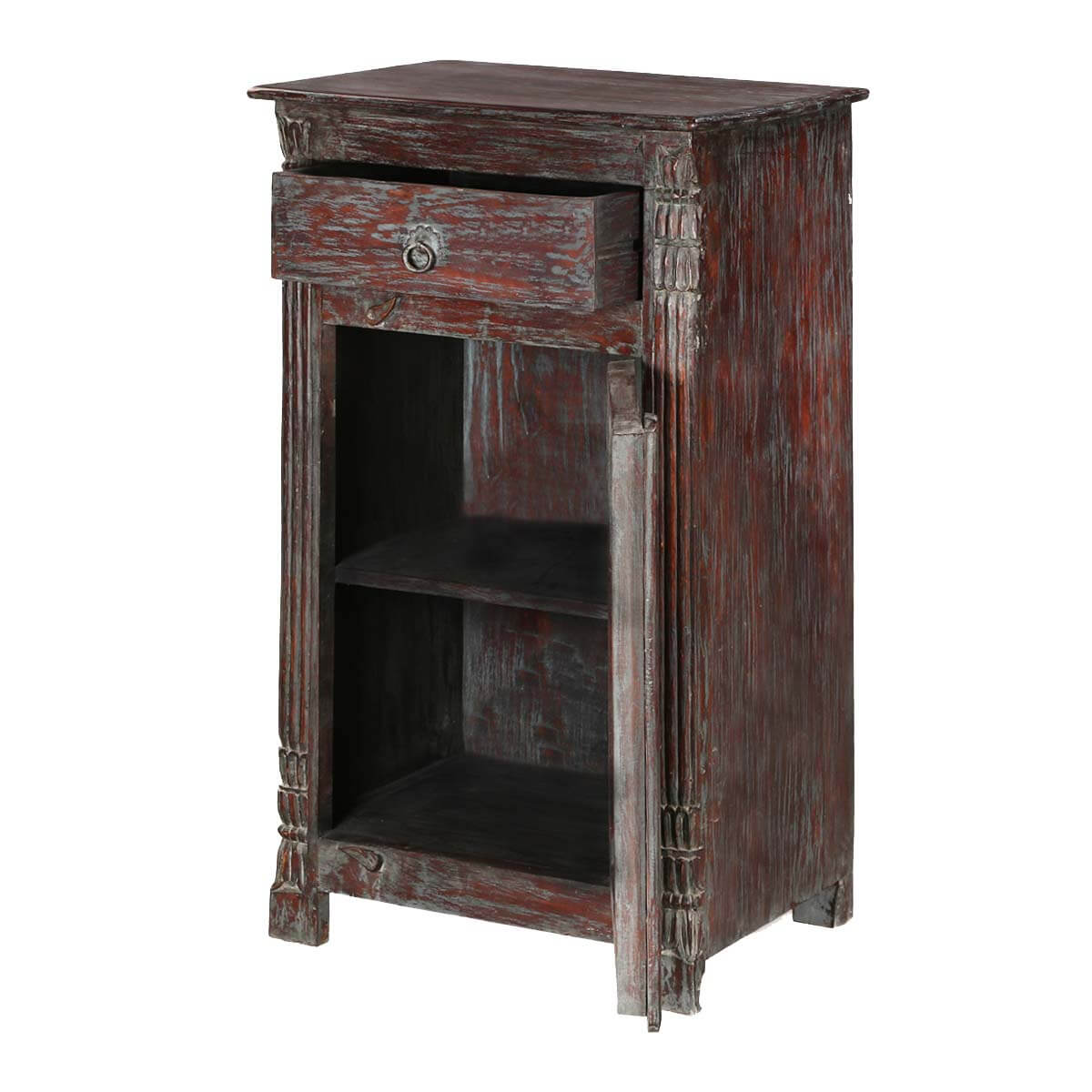 Chartres rustic solid wood single door 1 drawer accent for Rustic wood nightstand