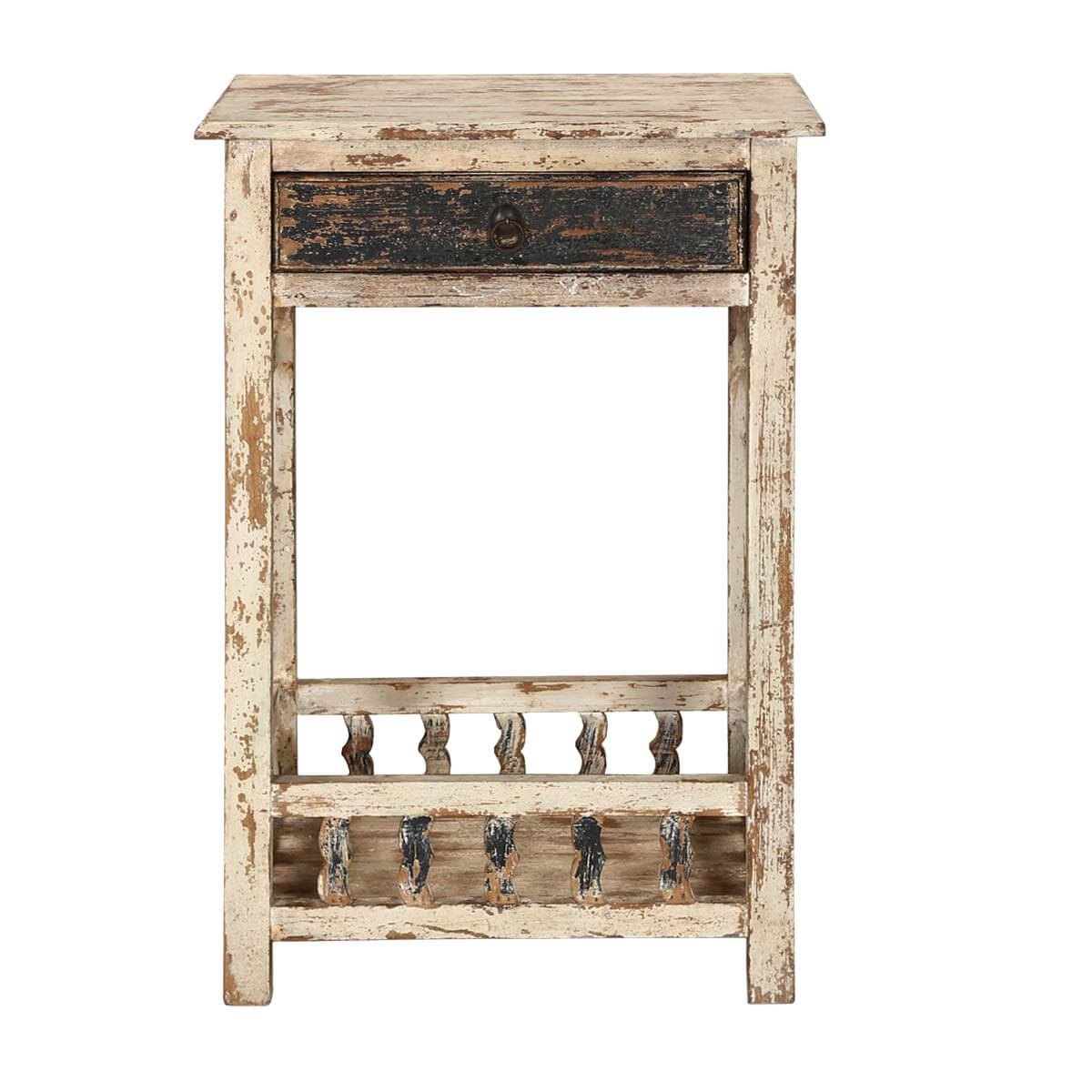 Winter White Distressed Mango Wood 35 Nightstand End Table