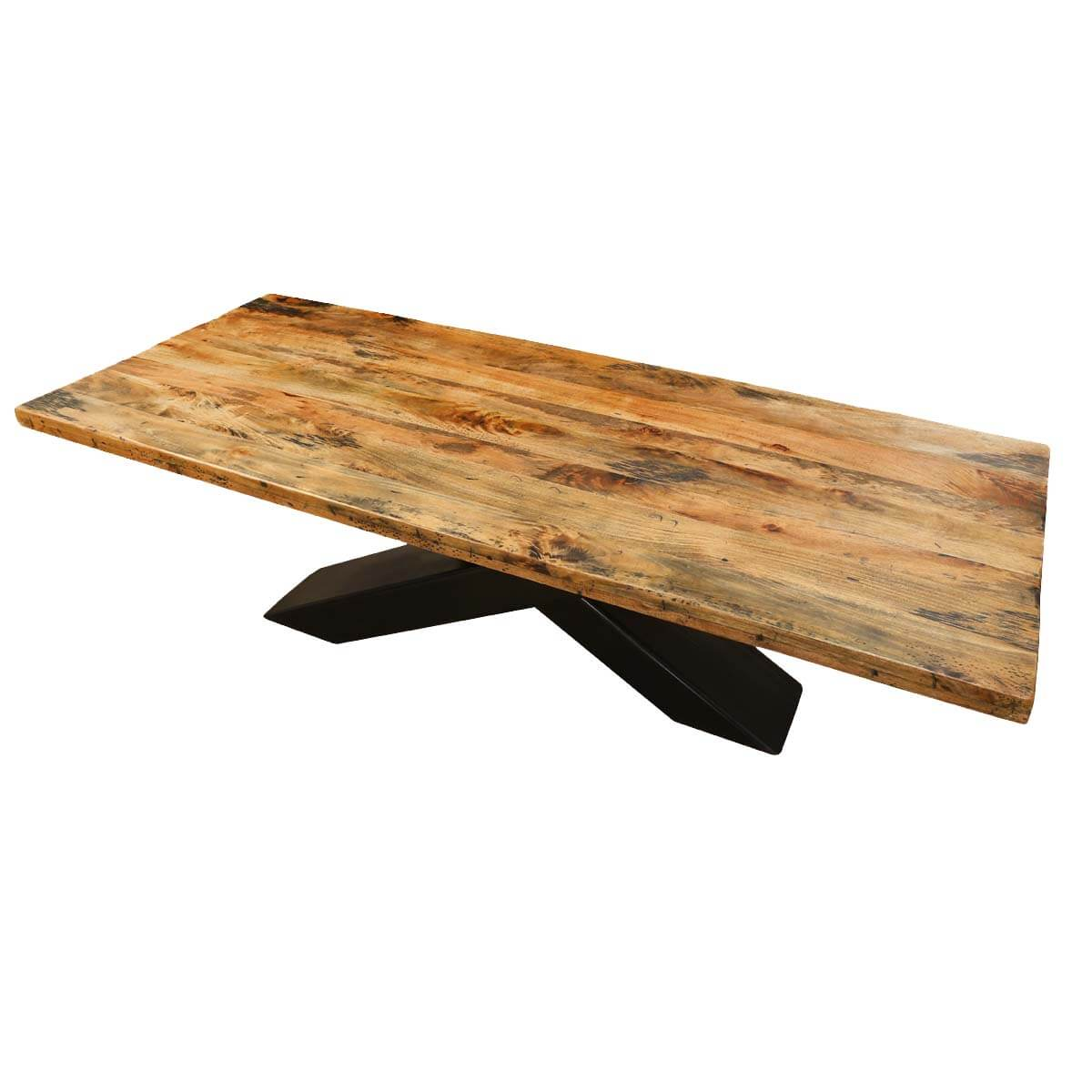 Elion 94 mango wood dining table with iron legs for Wood table iron legs