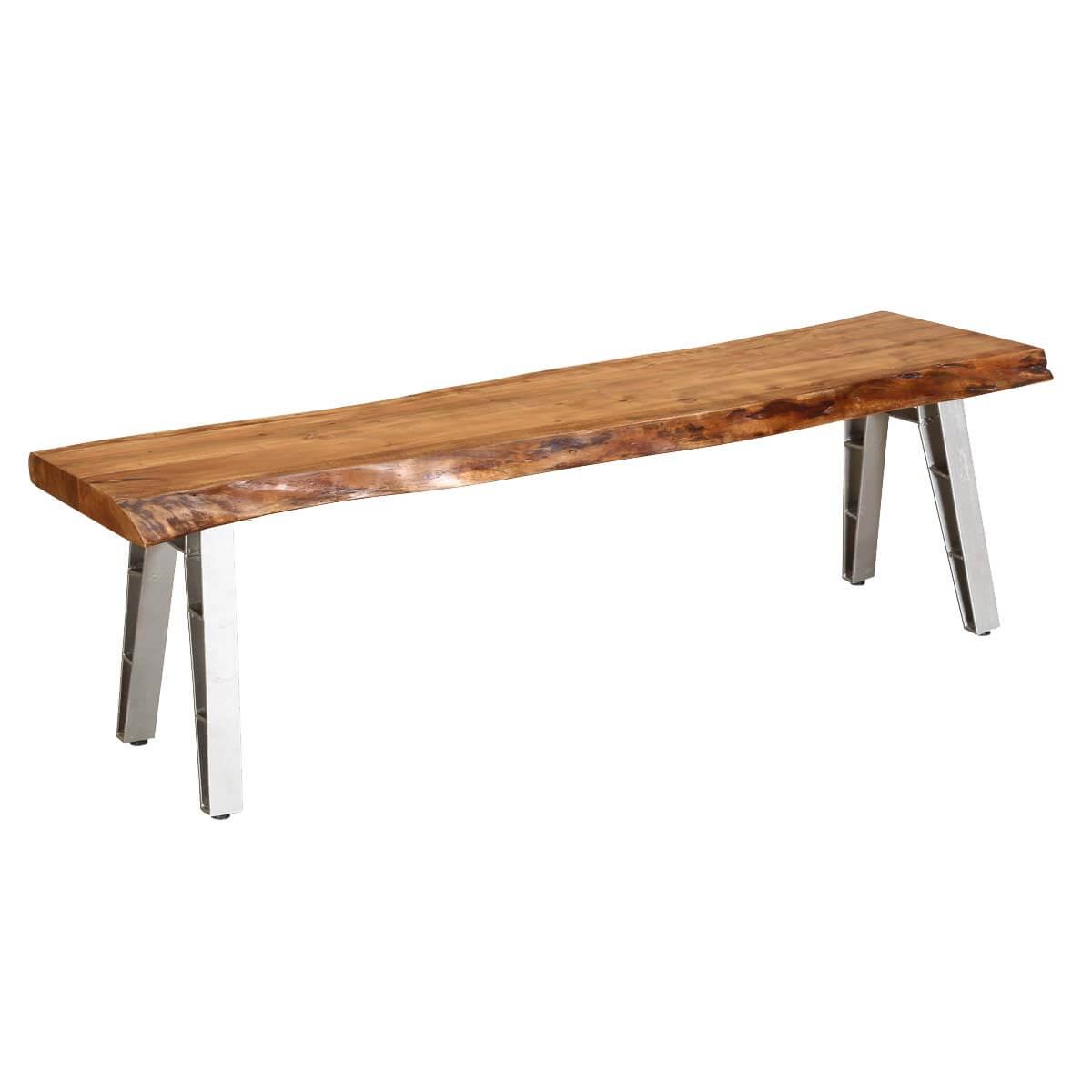 Madrid Live Edge Wooden Bench With Iron Legs