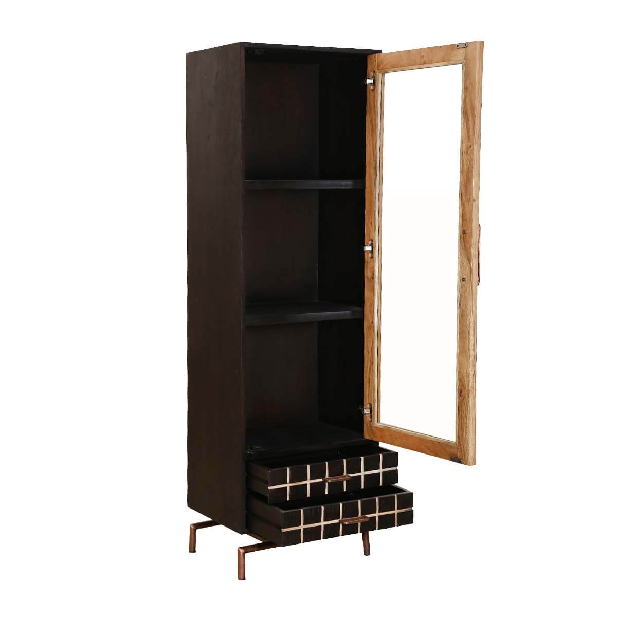 Acacia Wood Door : Barbara acacia wood drawer single glass door display cabinet