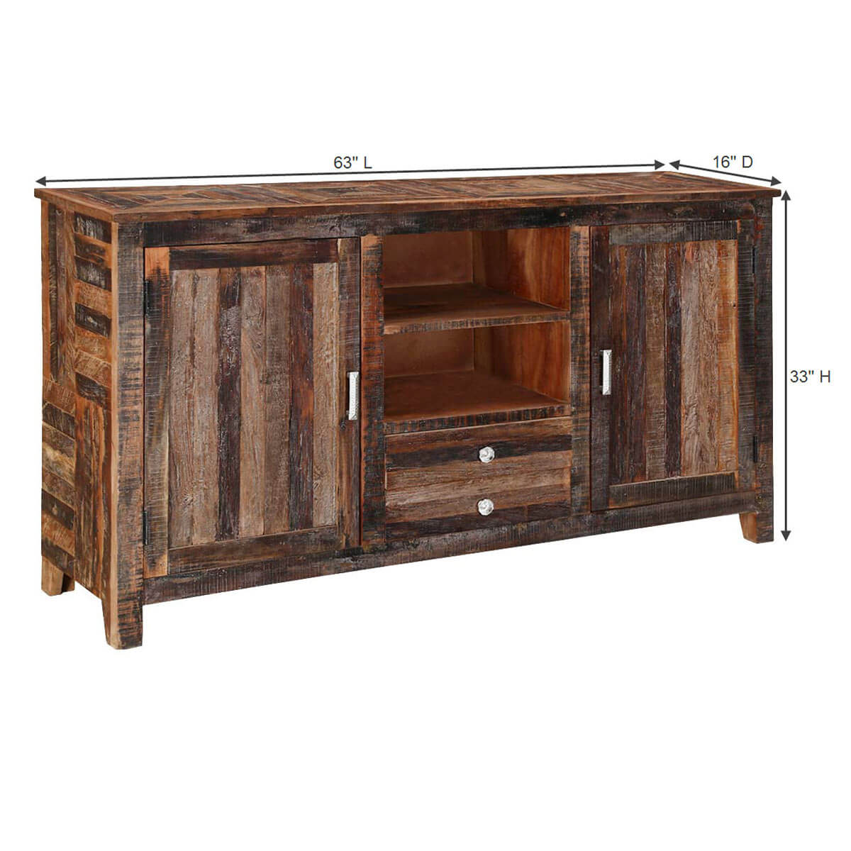 Oregon robust 63 reclaimed wood 2 drawer storage cabinet for Reclaimed wood oregon