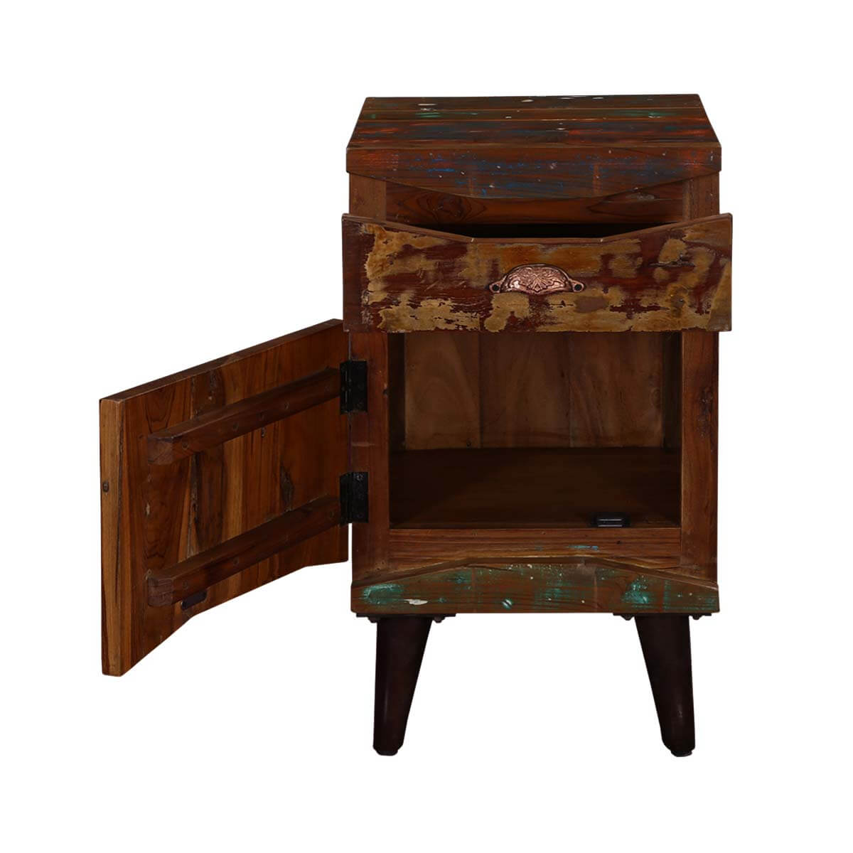 Rustic colors reclaimed wood standing nightstand mini cabinet for Rustic wood nightstand