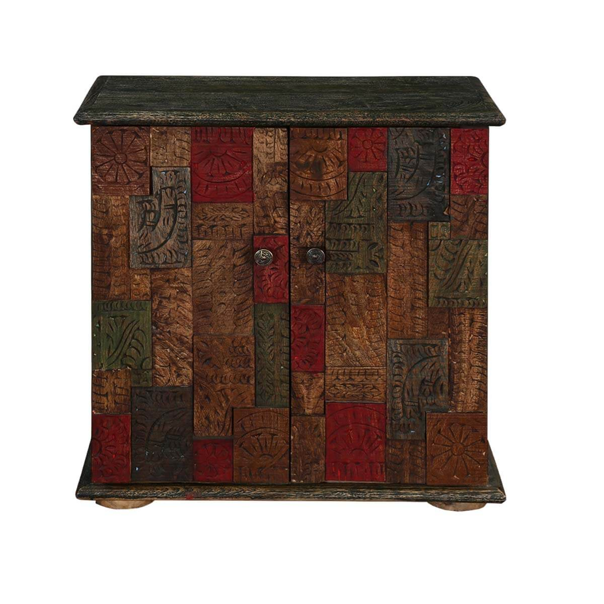 Explore More #703E22 Furniture Storage Cabinets Hand Carved Mosaic Acacia Wood  Multi Color With 1161