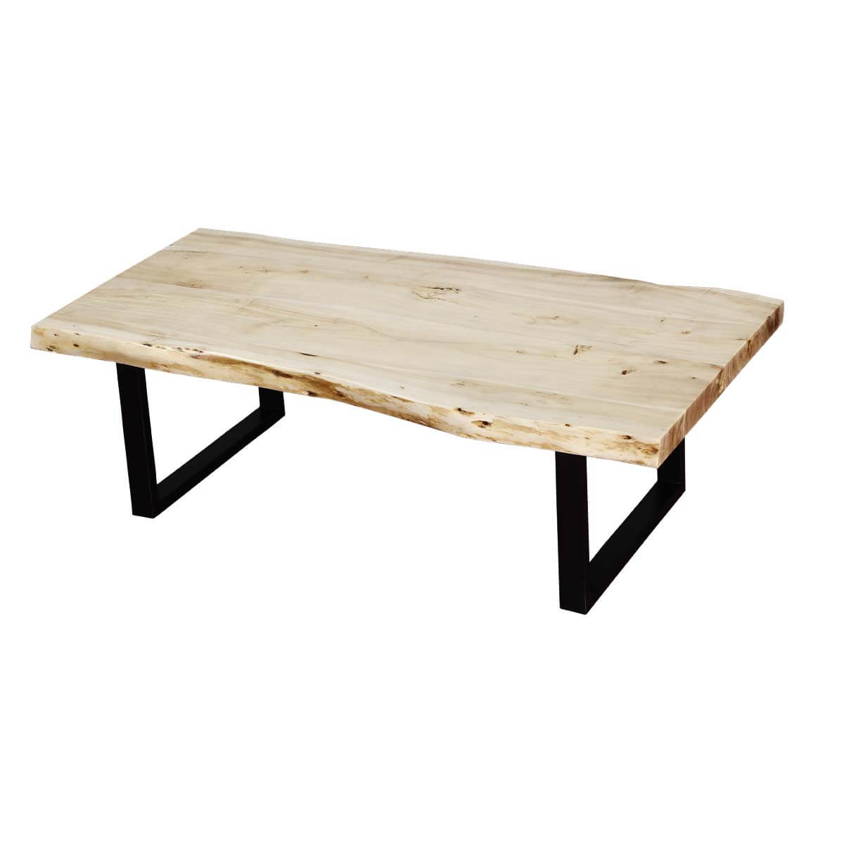 Modern 51quot acacia wood black iron leg live edge coffee table for Wood coffee table with iron legs