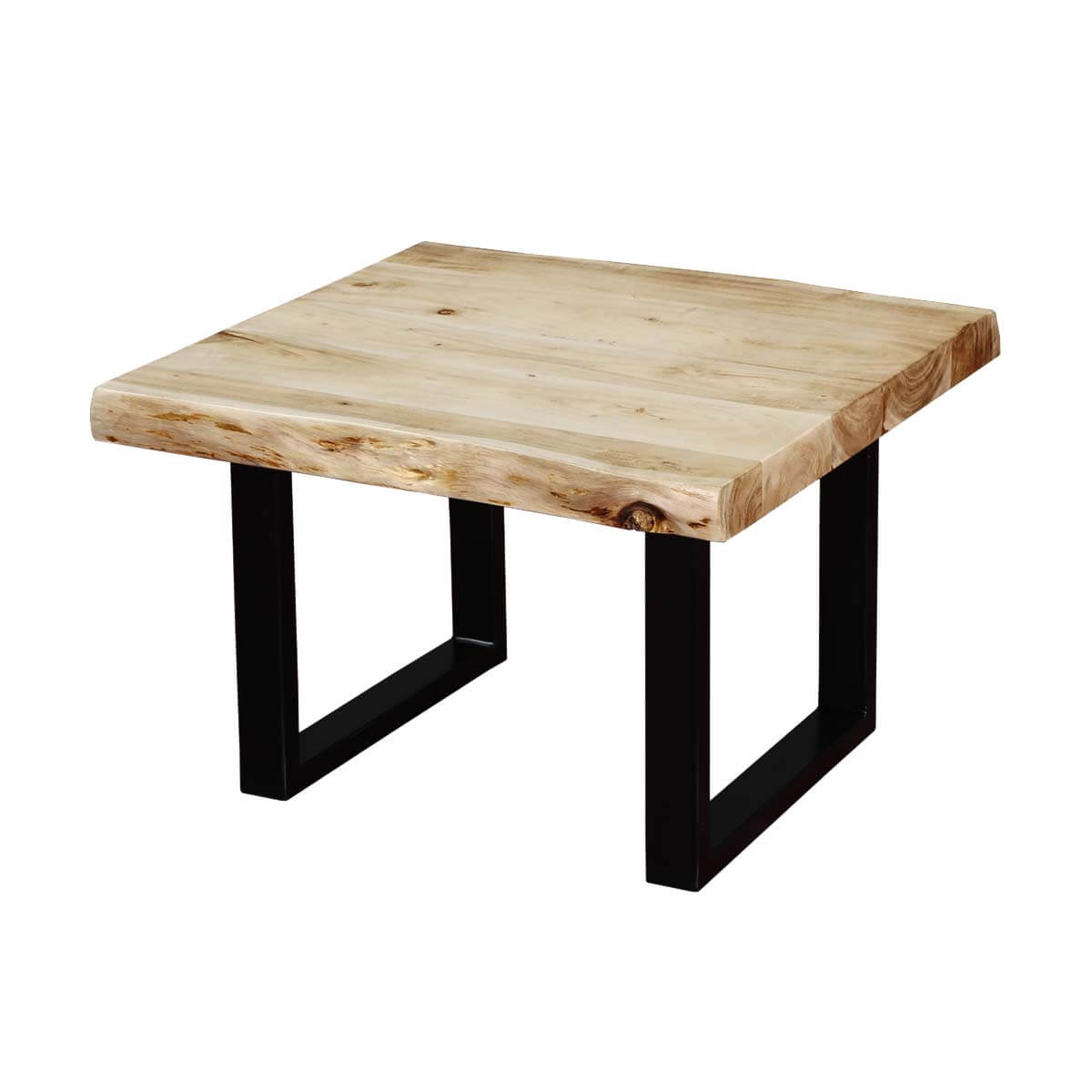 Black white natural edge acacia wood iron end table for White end table