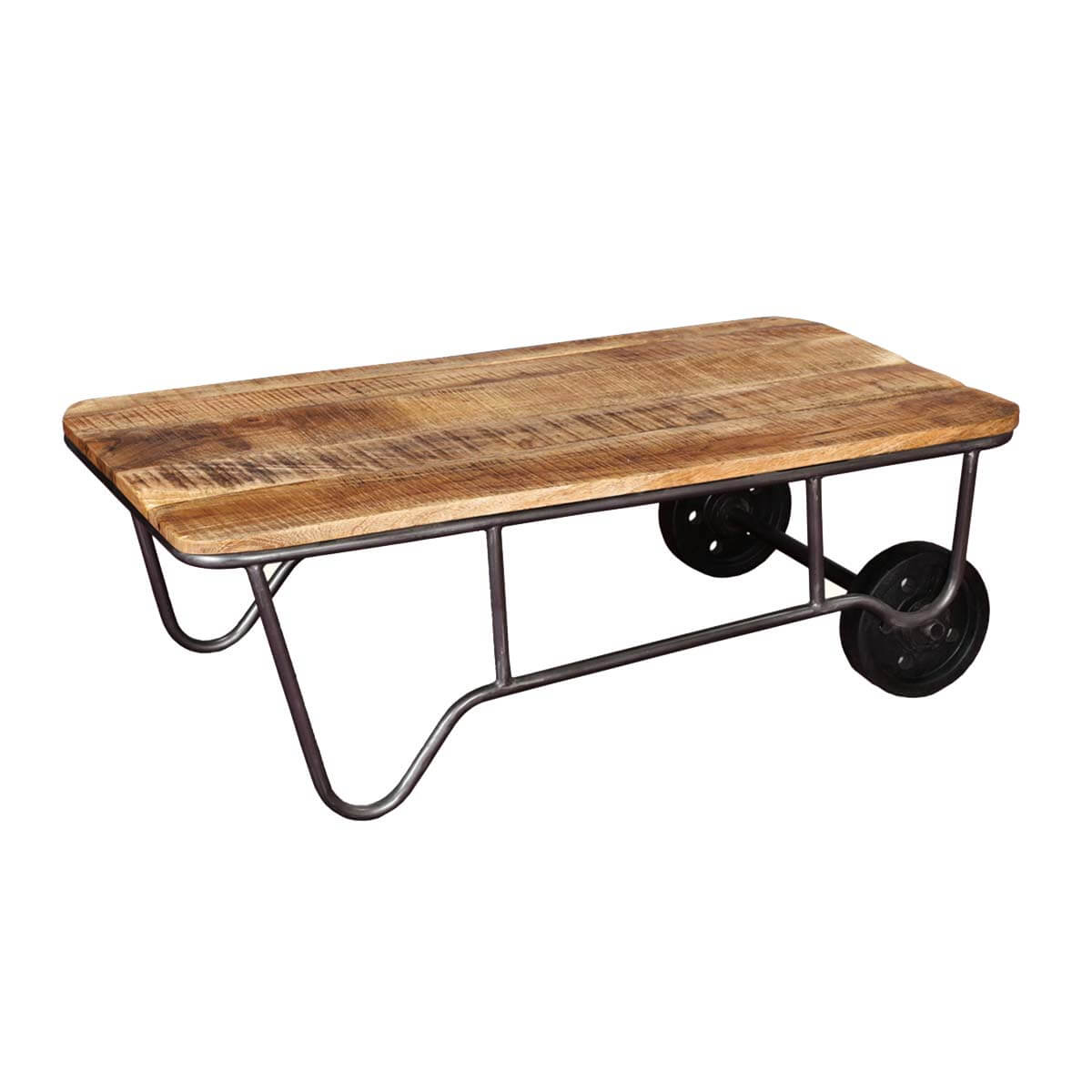 Rustic Wood And Metal Coffee Tables: Industrial Rustic Mango Wood & Iron Rolling Coffee Table