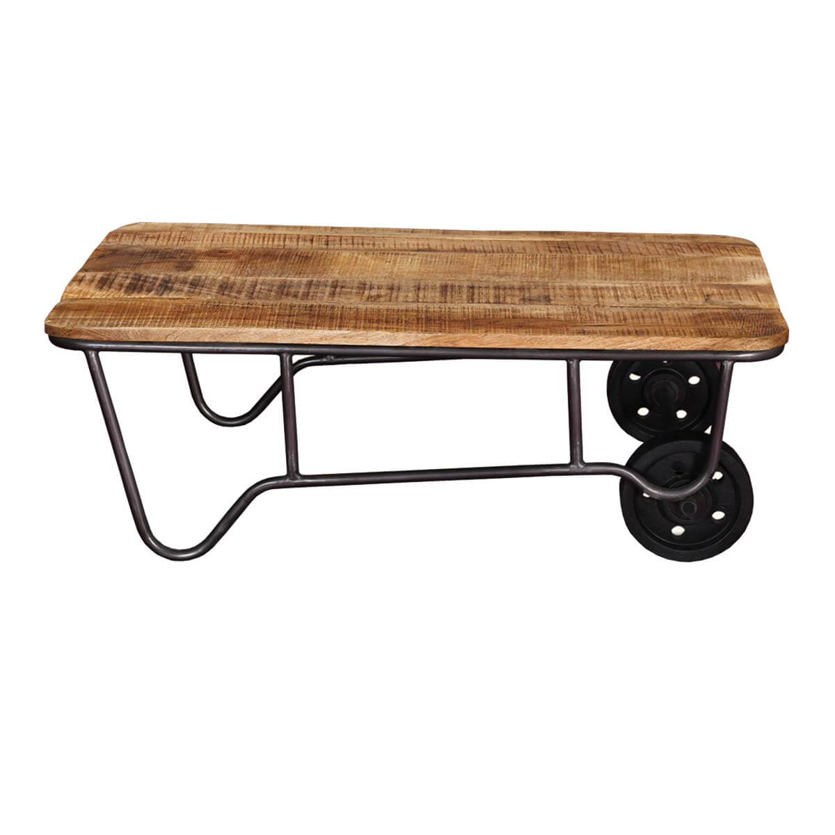 Industrial rustic mango wood iron rolling coffee table for Coffee tables industrial