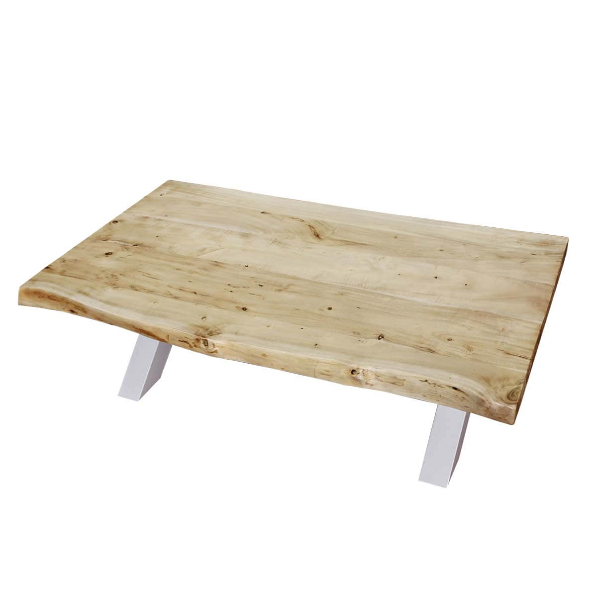Picnic Style Acacia Wood Iron 51 Live Edge Coffee Table