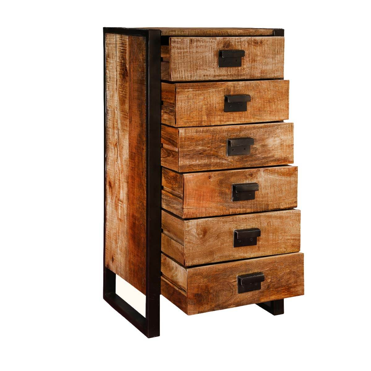 Roxborough industrial rustic wood drawer chest