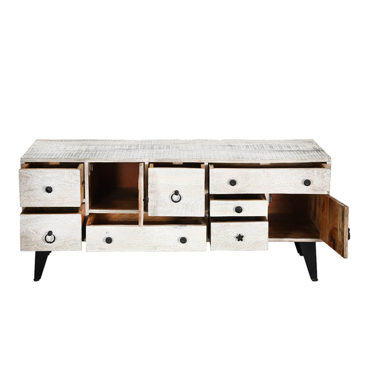 Ystad 55 White Mid Century 7 Drawer Accent Media Console