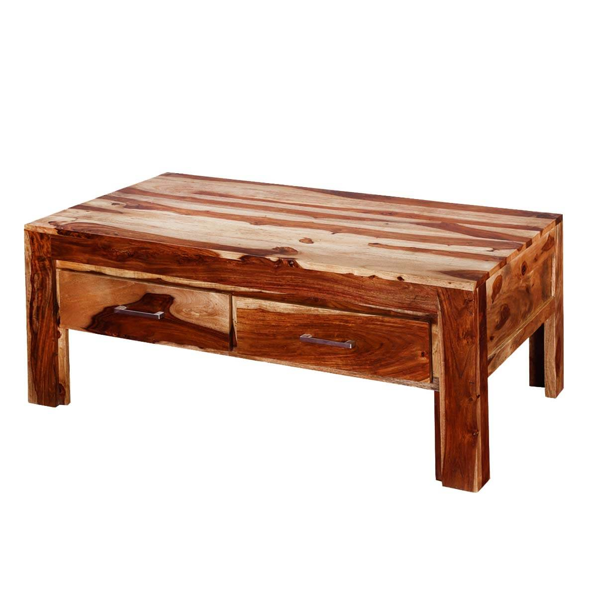 Modern frontier indian rosewood 45 coffee table w drawers for Indian coffee table