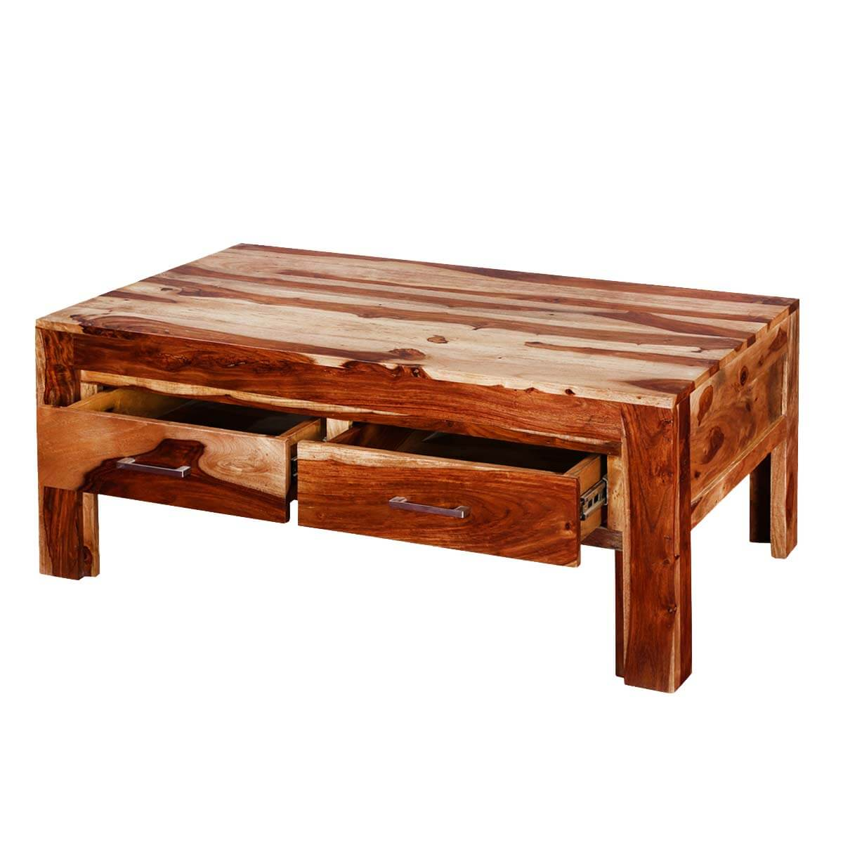 """Modern Frontier Indian Rosewood 45"""" Coffee Table W Drawers"""