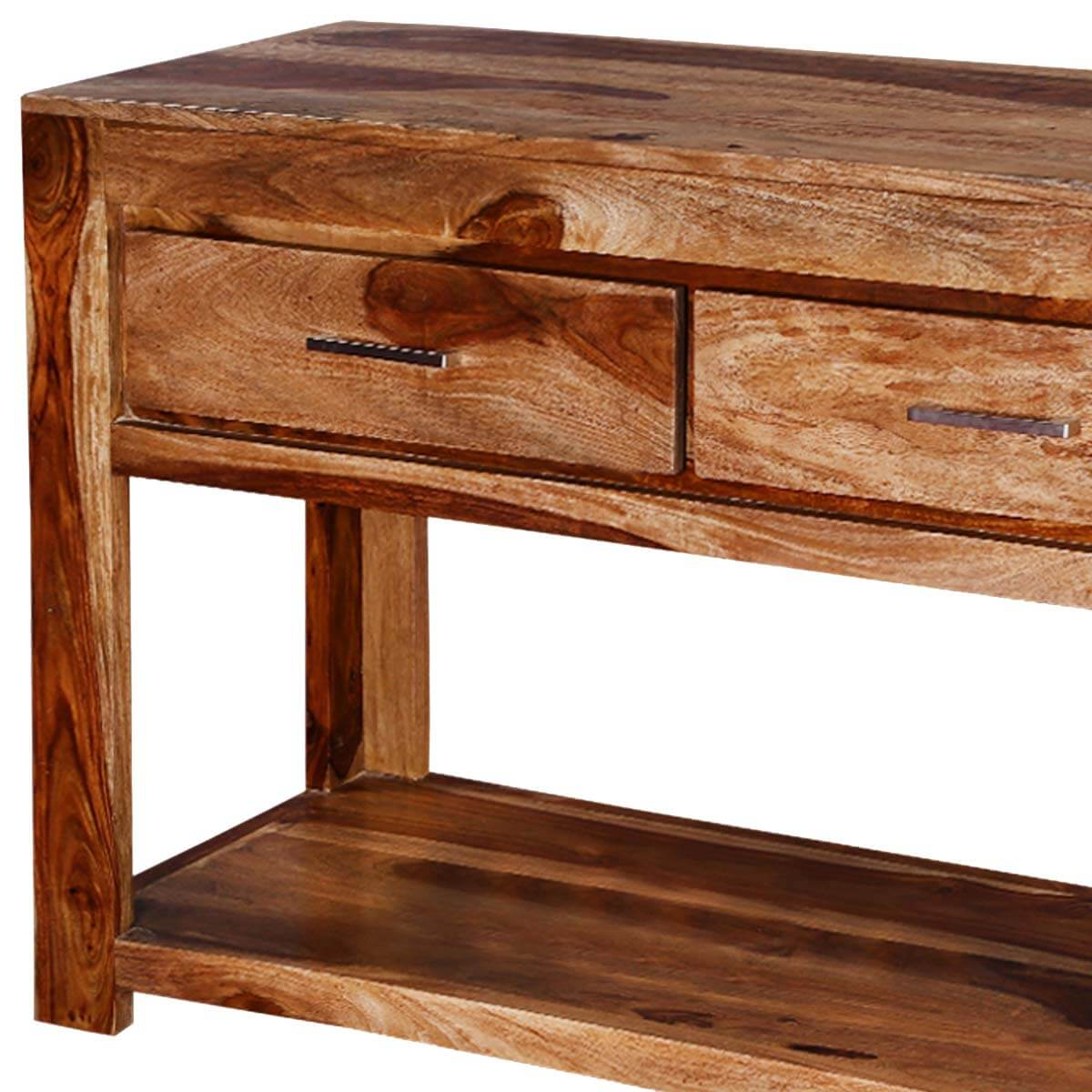 Modern frontier indian rosewood hall console table w drawers - Contemporary console tables with drawers ...