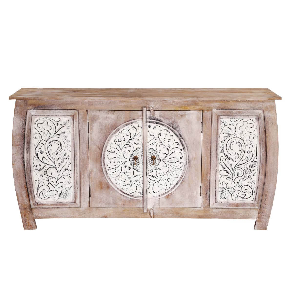 Orleans White Floral Motif Doors Rustic Accent Sideboard